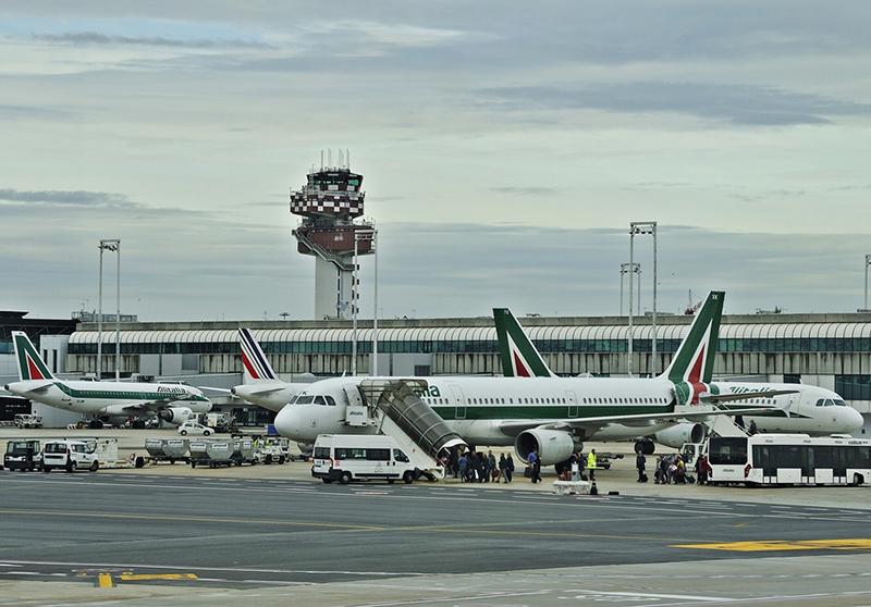 Alitalia aircraft located at the Rome Fiumicino airport