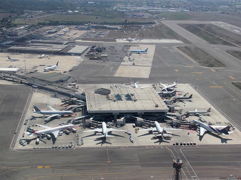 Panoramic view of Rome Fiumicino Airport