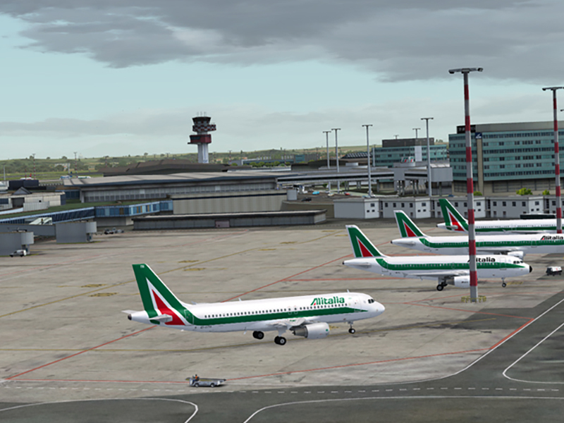 Alitalia aircraft located at the Rome Fiumicino airport. You can go from the airport to the center of Rome with our Rome Airport Transportation